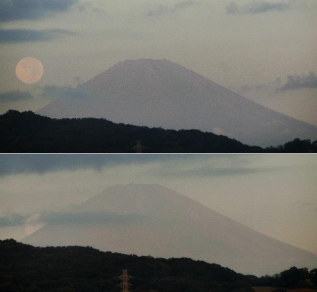 満月の中秋の名月 パール富士くずれ 2013年