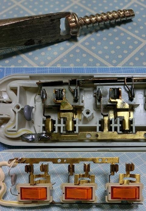 個別スイッチ付き3口テーブルタップ 分解