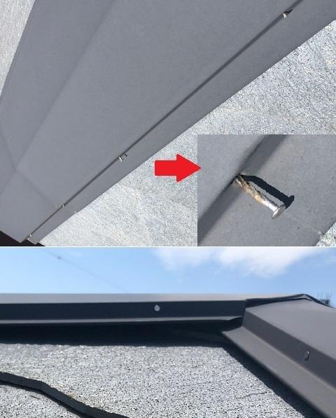 棟板金を貫板に留めている釘が抜けかけて